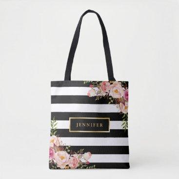 UrHomeNeeds Modern Vintage Floral Classic Black White Stripes Tote Bag