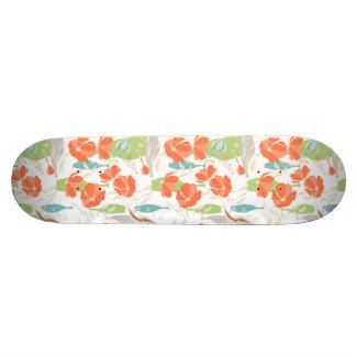 Modern vintage floral Coquelicot leaves pattern Skateboard