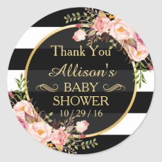 Modern Vintage Floral Decor Baby Shower Thank You Classic Round Sticker
