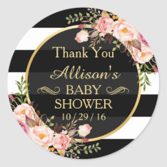 Modern Vintage Floral Decor Baby Shower Thank You Classic Round Sticker at Zazzle