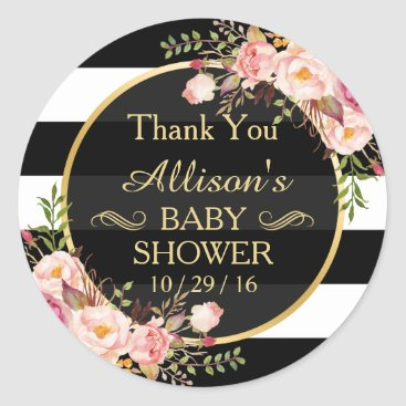 Toddler & Baby themed Modern Vintage Floral Decor Baby Shower Thank You Classic Round Sticker