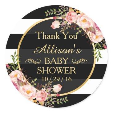 CardHunter Modern Vintage Floral Decor Baby Shower Thank You Classic Round Sticker