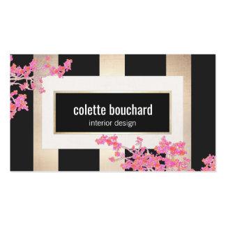 Modern Vintage Floral Gold Stripes Designer Business Card