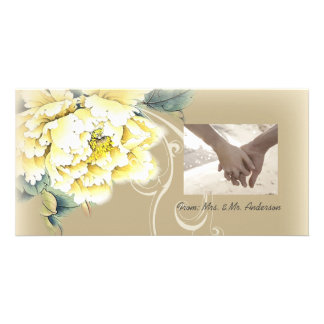 modern vintage floral peony wedding card