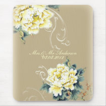 modern vintage floral peony wedding mouse pad