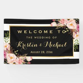 Modern Vintage Floral Stripes Decor Wedding Party Banner