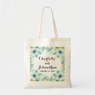 Modern Vintage Floral Wedding Budget Tote Bag