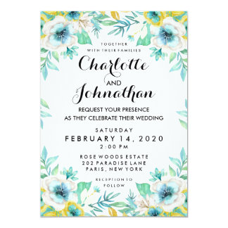 Modern Vintage Floral Wedding Invitation