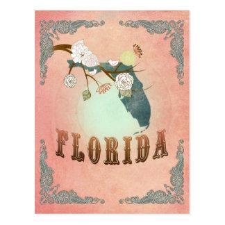 Modern Vintage Florida State Map- Pastel Peach Postcard