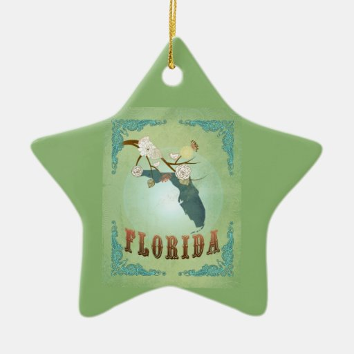 Modern Vintage Florida State Map – Sage Green Christmas Ornaments