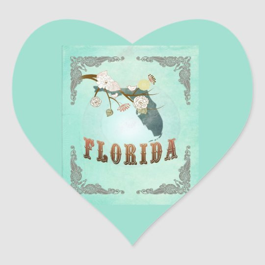 Modern Vintage Florida State Map – Turquoise Blue Heart Sticker