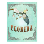 Modern Vintage Florida State Map – Turquoise Blue Postcards