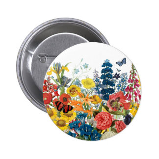 modern vintage flowers pinback button