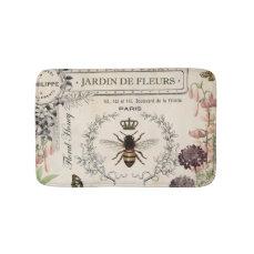Modern Vintage French Bee garden Bathroom Mat