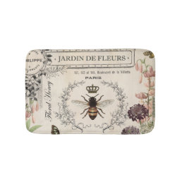 Modern Vintage French Bee garden Bathroom Mat