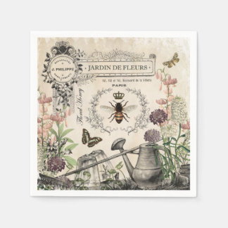 Modern Vintage French Bee garden Paper Napkin