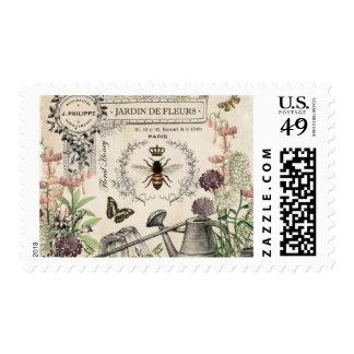 Modern vintage French Bee garden postage stamp