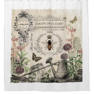 Modern Vintage French Bee garden Shower Curtain