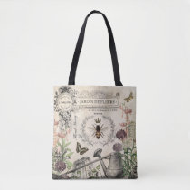 Modern Vintage French Bee garden Tote Bag
