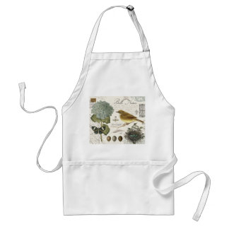 modern vintage French bird and nest Adult Apron