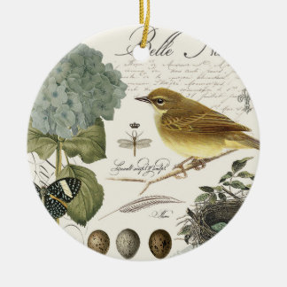 modern vintage French bird and nest Ceramic Ornament