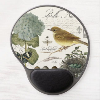 modern vintage French bird and nest Gel Mouse Pad