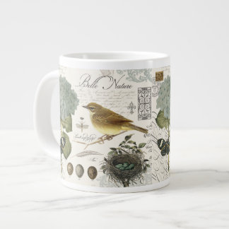 modern vintage French bird and nest Large Coffee Mug