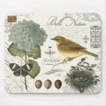 modern vintage French bird and nest Mouse Pad