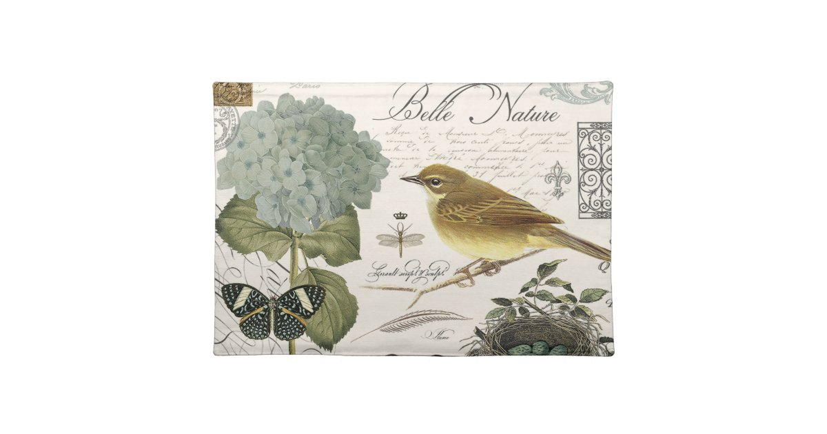 Modern Vintage French Bird And Nest Placemat Zazzle