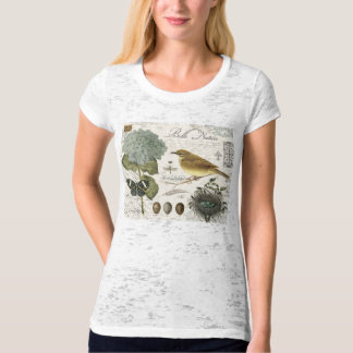modern vintage French bird and nest T Shirt