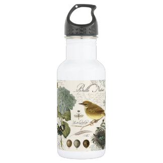 modern vintage French bird and nest Water Bottle