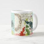 Modern Vintage French Bird coffee mug Jumbo Mugs