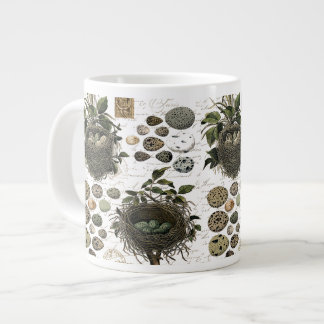 Modern Vintage French bird nests and eggs Large Coffee Mug