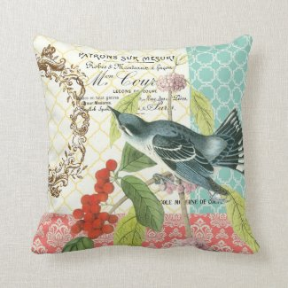 Modern Vintage French Bird pillow