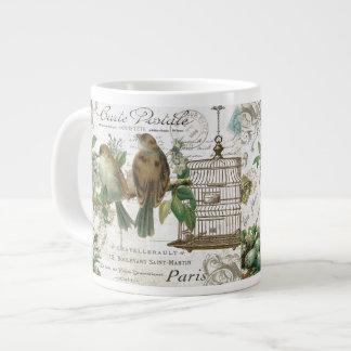Modern Vintage French birds and birdcage Giant Coffee Mug