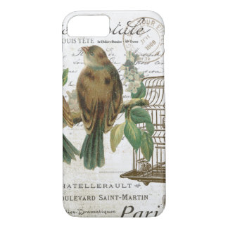 Modern Vintage French birds and birdcage iPhone 8/7 Case