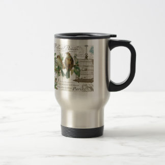 Modern Vintage French birds and birdcage 15 Oz Stainless Steel Travel Mug