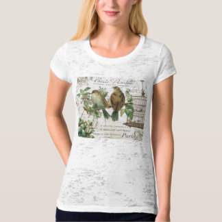 Modern Vintage French birds and birdcage T Shirt