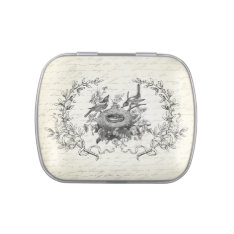 Modern Vintage French Birds And Nest Mint Tin Can Candy Tin at Zazzle
