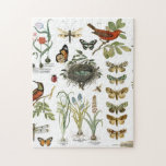 """modern vintage french botanical birds and flowers jigsaw puzzle<br><div class=""""desc"""">modern vintage french botanical birds and flowers</div>"""