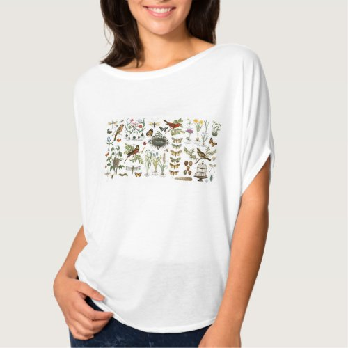 modern vintage french botanical birds and flowers T_Shirt