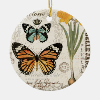 Modern vintage french butterflies ceramic ornament