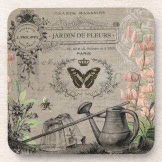 modern vintage french butterfly garden coaster