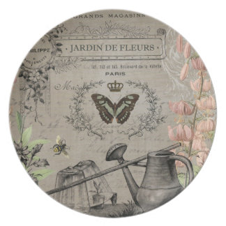 modern vintage french butterfly garden plate