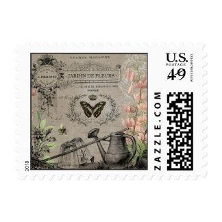 modern vintage french butterfly garden stamp