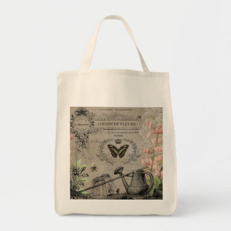 modern vintage french butterfly garden tote bag