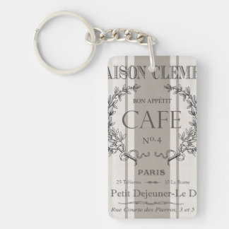 modern vintage french cafe Double-Sided rectangular acrylic keychain