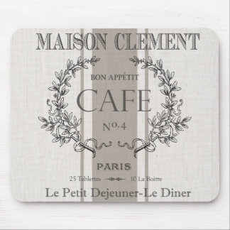 modern vintage french cafe mouse pad