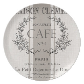 modern vintage french cafe dinner plate