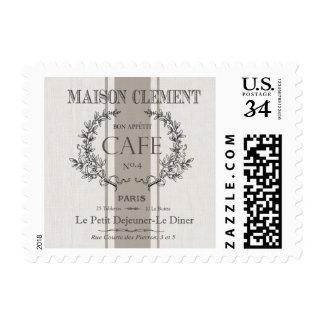 modern vintage french cafe postage stamp